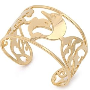 Yellow gold over stainless steel cuff bracelet